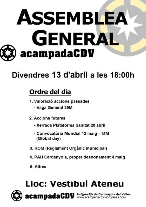 [CONVOCATÒRIA] Assemblea General divendres 13-04-12